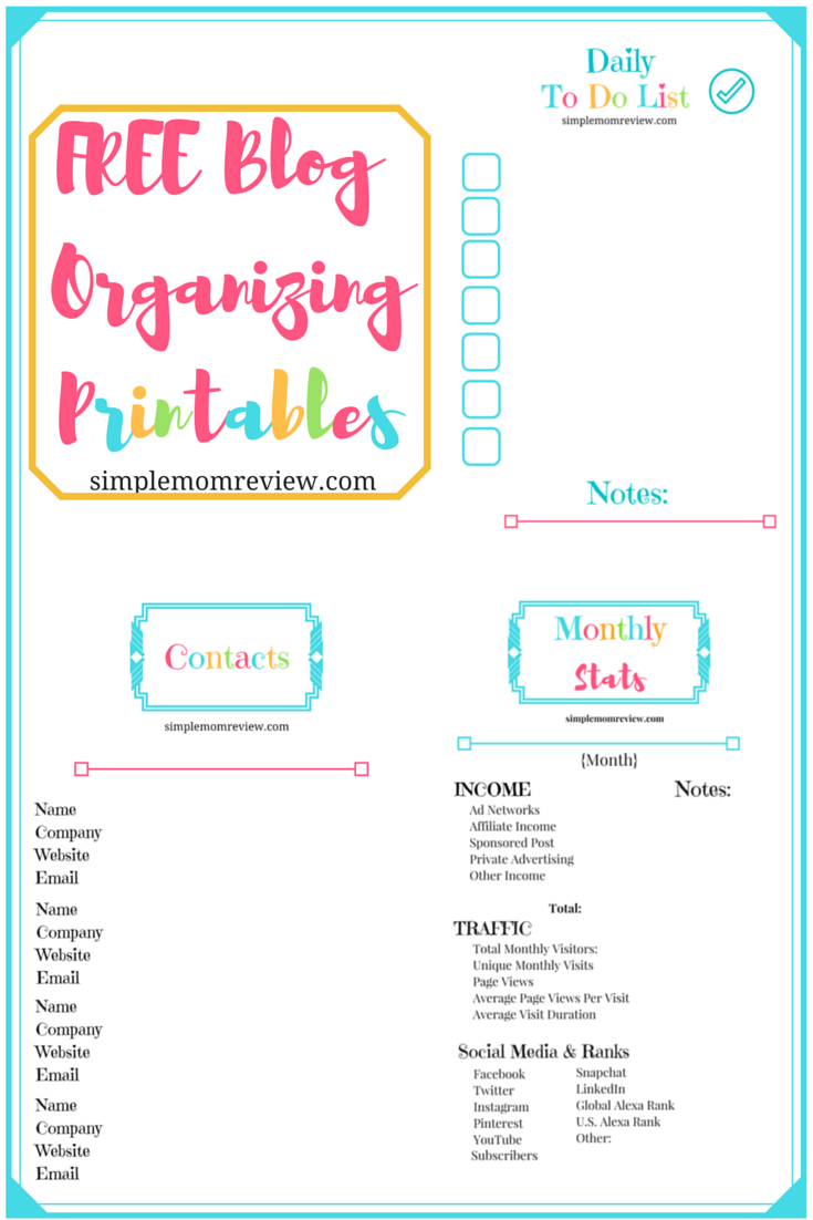 FREE Blog Organizing Printables (1)