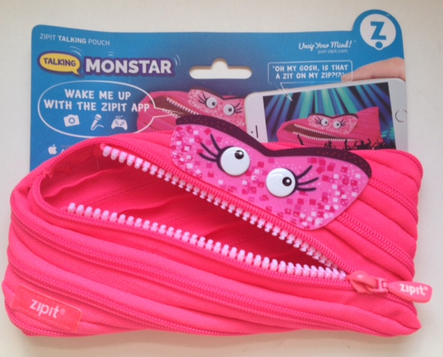 pink monster zipit pencil pouch