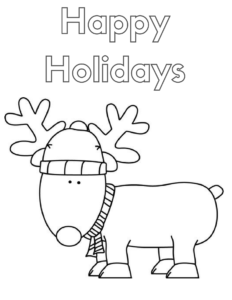 happy holidays coloring page 2
